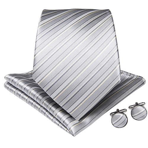 (DiBanGu Men's Silver Tie Silk Stripe Necktie Pocket Square Cufflinks Set Business Formal)