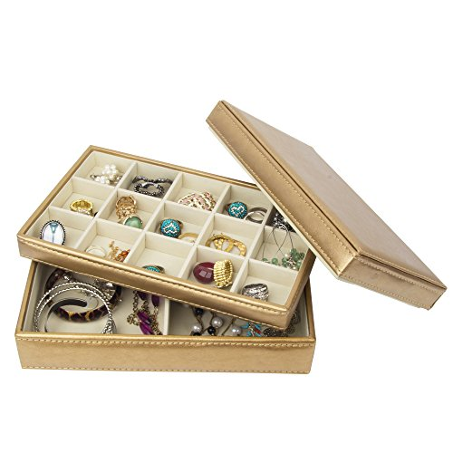 Kendal 17 Section Leather Jewelry Box,2 Tray Golden Jewelry Organizer for Women & Girls (b-LJT001) ()