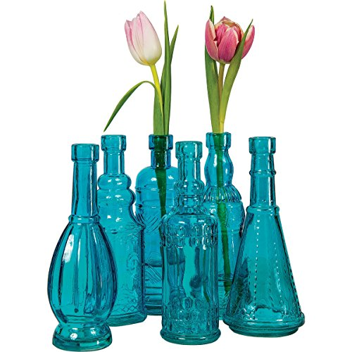 Luna Bazaar Small Vintage Glass Bottle Set (7-Inch, Sierra Design, Turquoise Blue, Set of 6) - Flower Bud Vases Bulk - For Home Decor and Wedding Centerpieces