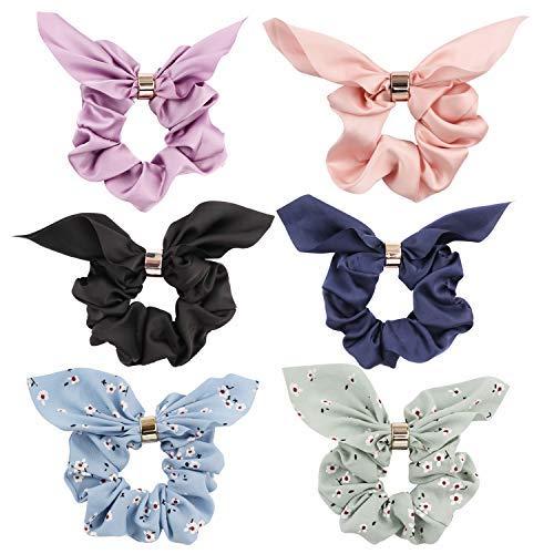 Jaciya 6 Pack Hair Scrunchies Chiffon Flower Elastic Hair Bands Scrunchy Hair Ties Ropes Scrunchies for Women Hair Accessories, Rabbit Ear Scrunchie