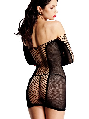 [Amoretu Women Sexy Lingerie Fishnet Chemise Long Sleeves Mini Dress for Club Wear Black] (Sexy Valentine Outfit)