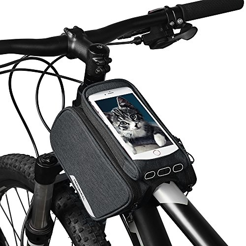 Dularf Roswheel Bike Frame Bag Water Resistant Cycling Top Tube Pannier with Touch Screen Bicycle Handbar Front Phone Holder, 1.5L Capacity