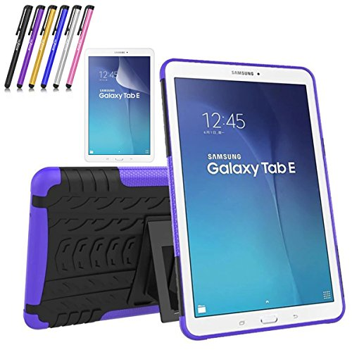 Galaxy Tab E 9.6 Case, Windrew Heavy Duty Hybrid Protective Case with Kickstand Impact Resistant For Samsung Galaxy Tab E 9.6 Inch SM-T560 + Screen Protector Film and Stylus Pen (Purple)