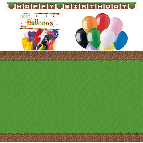 Minecraft Themed Party Decorations - Includes Party Banner,Tablecloth and Ten 12