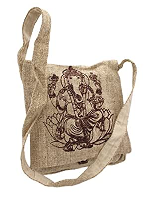 Natural Color Hemp Bag With Ganesha