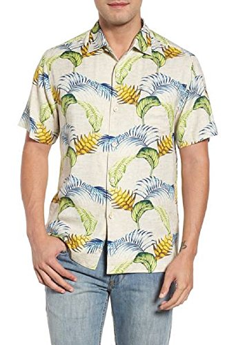 Tommy Bahama Boca Bouquet Silk Camp Shirt (Color: Coconut Cream, Size XXL)