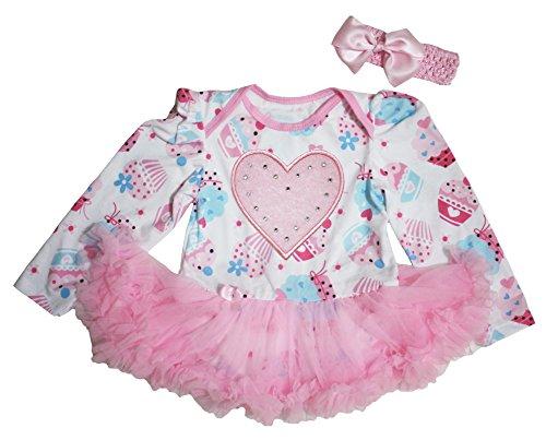 Valentine Day Baby Dress Heart Cupcake L/s Bodysuit Pink Tutu Romper Set Nb-18m (0-3 Months)