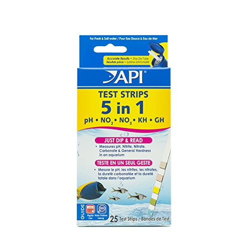 API 5-in-1 Test Strips Freshwater & Saltwater Aquarium Test Strips 25Count Box ()