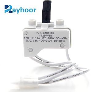 Rayhoor 3406107 Dryer Door Switch Replacement for Whirlpool & Kenmore Dryer - Replaces 3405100, 3405101, 3406100, 3406101, 3406107, 3406109 (Single)