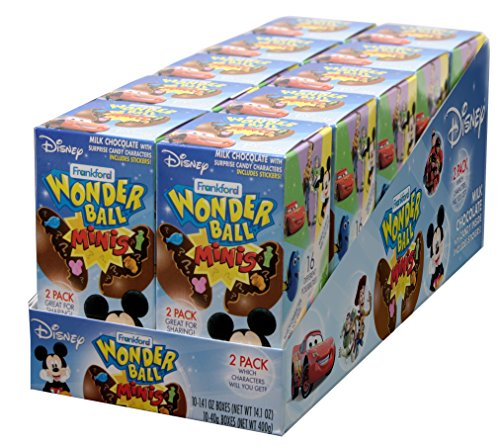 Frankford Candy Company Disney Wonder Ball Mini, Milk Chocolate, 1.41 Ounce (Pack of 10)