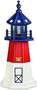 DutchCrafters Decorative Lighthouse - Poly, Barnegat Style (Red/White/Blue, (Patriotic) 3)