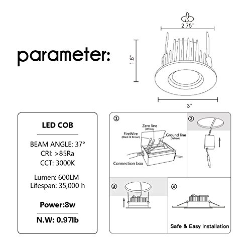 Home Lighting Down Lights Circuit On Rcd: OBSESS 3-Inch IP65 Waterproof Recessed Trim With 8W LED