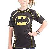 Fusion Batman 1989 Black Logo Kids Compression Shirt Rash Guard- Short Sleeve (S)