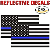 Reflective Thin Blue Line Flag Decal - 3x5 in. American USA Flag Decal for Cars and Trucks, Support Police and Law Enforcement Officers (2 Pack)