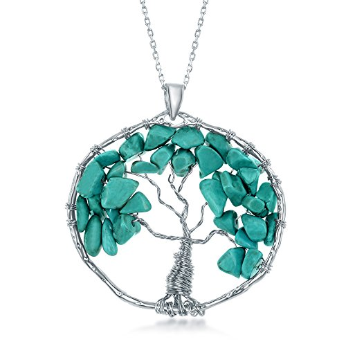 """Sterling Silver Reconstituted Turquoise Beads Tree of Life 30"""" Pendant Necklace"""