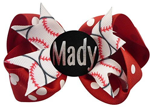 Price comparison product image Personalized Baseball Hair Bow and Choose Ribbon Colors