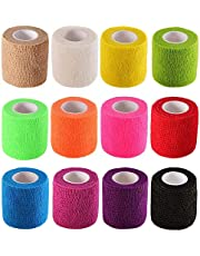 EDOBLUE 12 Pieces Adhesive Bandage Wrap Stretch Self-Adherent Tape for Sports, Wrist, Ankle, 5 Yards Each (12 Colors, 2 Inches/Assorted Color)