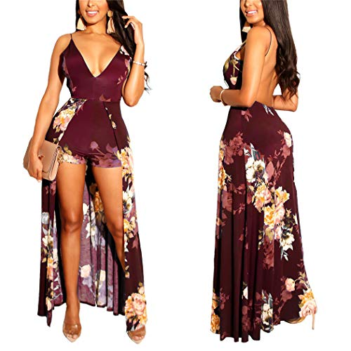 Womens Sexy Spaghetti Strap Dress - Floral Jumpsuit Rompers Open Back Dress Summer Maxi Dress Wine Red