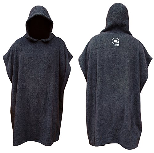 - Kids Swimming Robe Surf Beach Poncho in Cotton Towelling w Adjustable Sleeves [Choose Color] (Charcoal, Teen)
