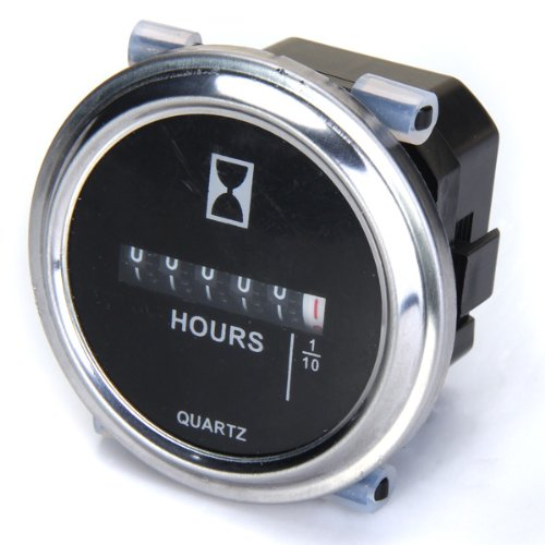 Hour Meter 6 to 80 Volts DC - Round Silvery Trim Ring
