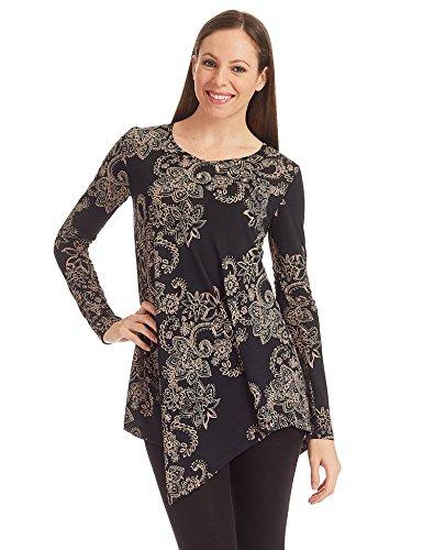 [MBJ WT1317 Womens Print V Neck Long Sleeve Hankerchief Tunic XL TAUPE_BLACK] (Long Sleeve Print Tunic)