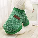 LINGERY 8 Color Halloween Christmas Pet Dog Puppy Classic Wool Sweater Fleece Sweater Clothes Warm Sweater Winter (Green, XL) Review