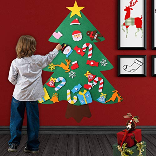 O-Heart Family 3ft DIY Felt Christmas Childrens Tree with 27pcs Detachable Ornaments, Kids Decorate Gifts Toy Activity - Preschool Holiday Fun