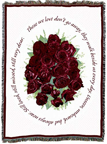 Pure Country Weavers | Memorial Red Roses Bereavement Sympathy Gift Blanket | Woven Tapestry Cotton USA 72x54