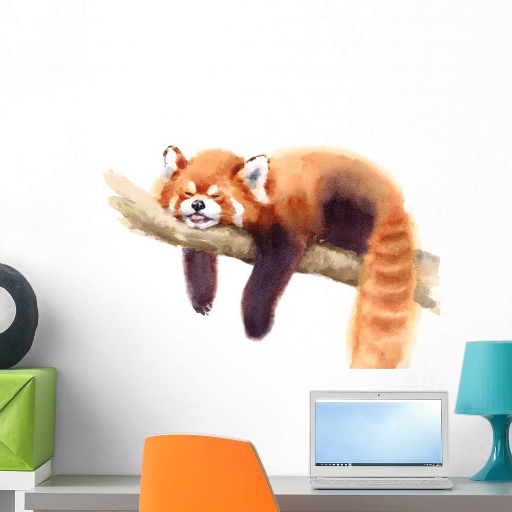 Wallmonkeys Watercolor Sleeping Red Panda Wall Decal Peel and Stick Animal Graphics (24 in W x 17 in H) WM502670