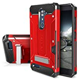 ZTE ZMAX PRO Case, Evocel [Explorer Series Pro] with [Glass Screen Protector] Premium Full Body [Metal Kickstand] [Credit Card Slot] [Holster] for ZTE ZMAX PRO / ZTE Carry, Red (EVO-ZTECARRY-CK03)