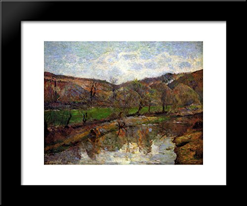 Upstream Framed - Upstream of Pont-Aven 20x24 Framed Art Print by Paul Gauguin