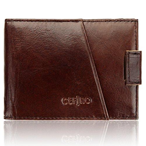 Mens Wallet Front Pocket Wallet RFID Blocking Bifold Slim Genuine Leather Wallets for Men Coffee CEFIRO