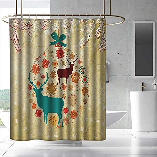 - Christmas Shower Curtain Reindeer and Snowflakes in Abstract Balls Ornament Vintage Design Paper Art Image Fashionable Pattern W55 x L84 Beige