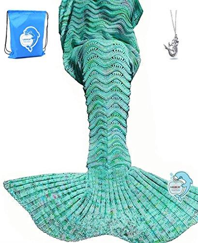 LAGHCAT Mermaid Tail Blanket Knit Crochet Mermaid Blanket for Kids, Soft Christmas Sleeping Blankets, Wave Pattern (Mint Green, 56x28)