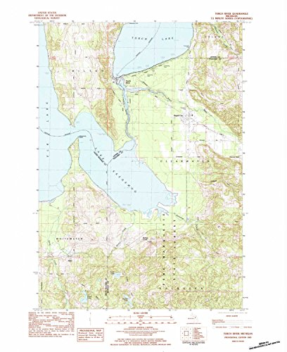 YellowMaps Torch River MI topo map, 1:24000 Scale, 7.5 X 7.5 Minute, Historical, 1983, Updated 1984, 28 x 22.9 in - Tyvek