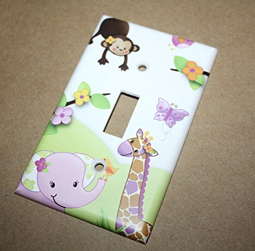 Plum Jungle Animal Girls Bedroom Switch Plate Light Switch Cover LS0046 (Double Standard) Toad and Lily LS0046e