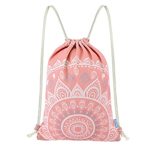 Miomao Drawstring Backpack Canvas Gym Sackpack, Geometric Mandala Style Gymsack with Zipper Pockets, Unisex Casual Bag Yoga Daypack Outdoor Rucksack, 13