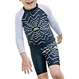 Ababalaya Boys Disco Monster Rashguard Swimsuit Trunk Set UPF 50+ Sun Protection 2-8T