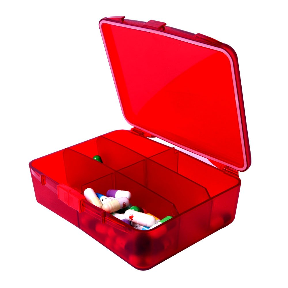 XINHOME 6 Compartment Pill Box Holds Up to 200 Tablets Gasketed & Waterproof (Red) by XINHOME