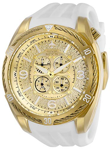 Invicta Men's Aviator Stainless Steel Quartz Watch with Silicone Strap, White, 32 (Model: 28080) (Gold White Mens Invicta Watch And)