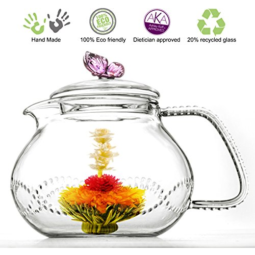 Glass Teapot No Drip Special Lead Free Glass (24 oz Butterfly Pink)