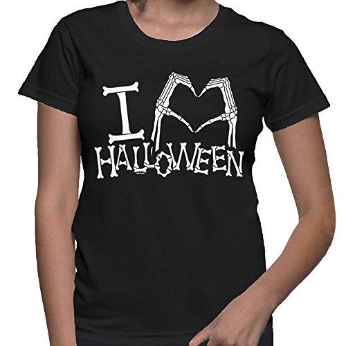 WOMENS I Love Heart Halloween - Halloween T-shirt (XL, BLACK) (Scary Halloween Pumkins)