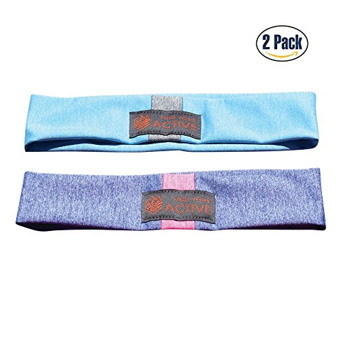 Red Dust Active Lightweight Sports Headband - Non Slip Moisture Wicking Sweatband - Ideal for Running, Cycling, Yoga and Athletic Workouts - by Twin Pack by Red Dust Active (Image #6)