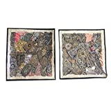 2 Grey Sequin Cushion Cover Zari Embroidery Square Pillow Cases 16x16