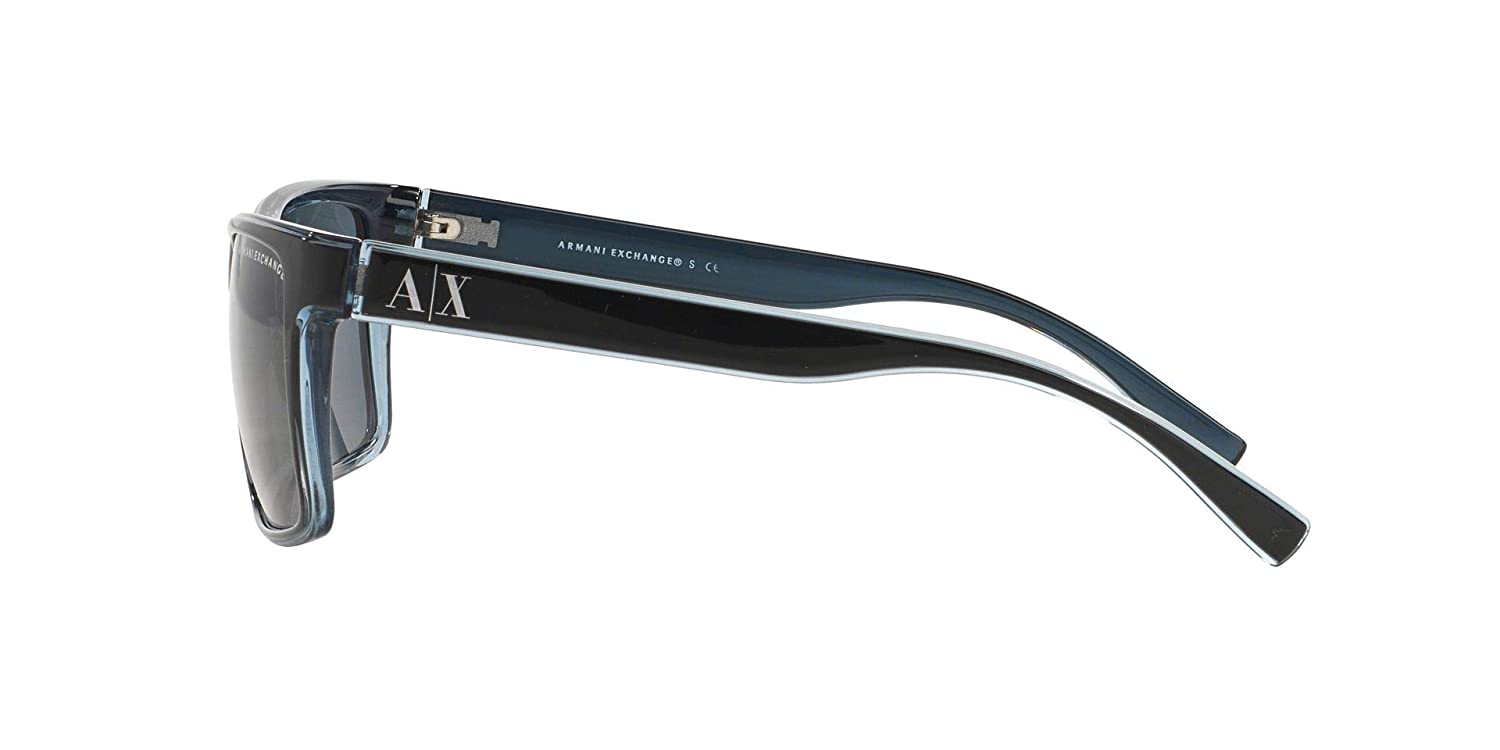 8114a11efa5a Amazon.com  Armani Exchange 0ax4016 Square Sunglasses black transparent  blue grey 56.0 mm  Clothing