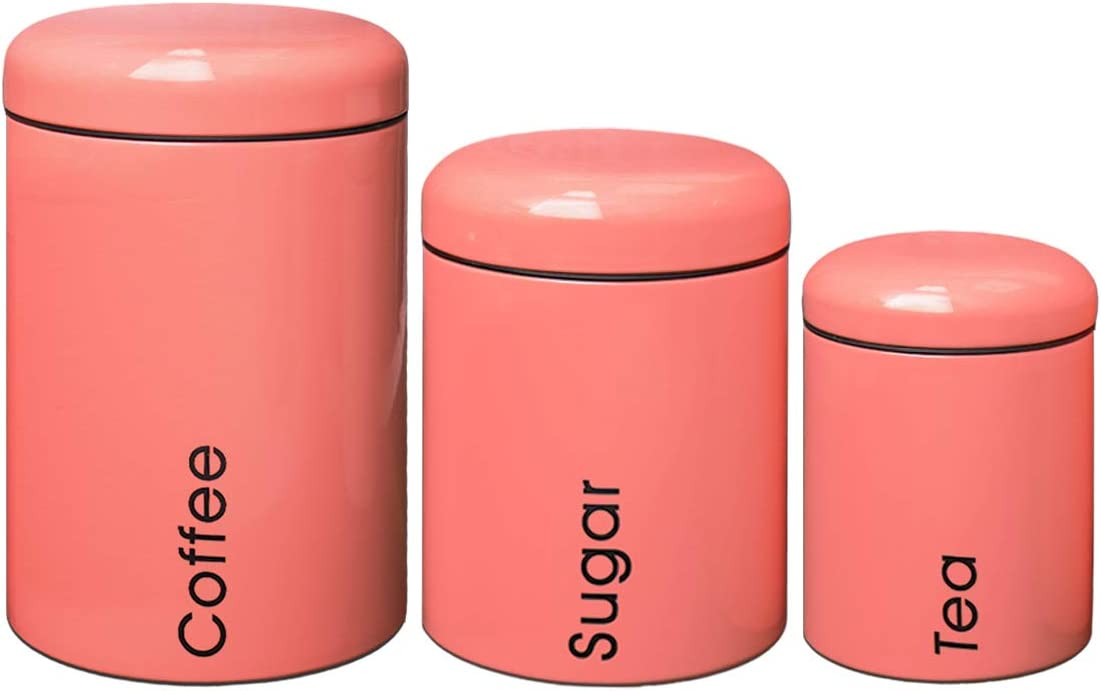 X030 Set of 3 Metal Food Storage Tin Canister/Jar (pink)