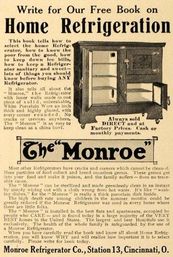 1910 Ad Monroe Refrigerator Co. Kitchen Appliances - Original Print - Monroe Cincinnati