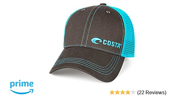 best sneakers b28f6 1e136 Amazon.com  Costa Del Mar Neon Trucker Offset Logo Hat - Graphite Neon Blue  - One Size fits All  Costa Del Mar  Sports   Outdoors