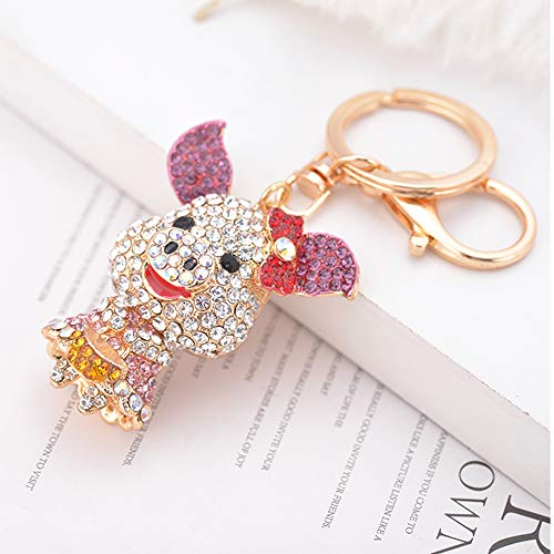 - GH8 Kawaii Cute Rhinestone Pig with Big Ears Shape As Charms Car Key Chains Key Ring Tassels Keyring Keychains linnor Women Bag Charms DIY (Pink)