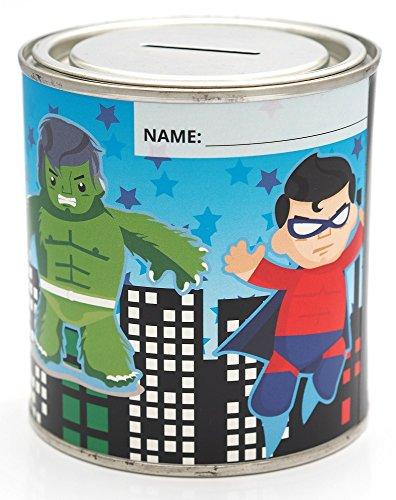 CanTastic Kids Super Hero Money Tin Box 500 ml Resalable Lid, Hulk, Iron Man